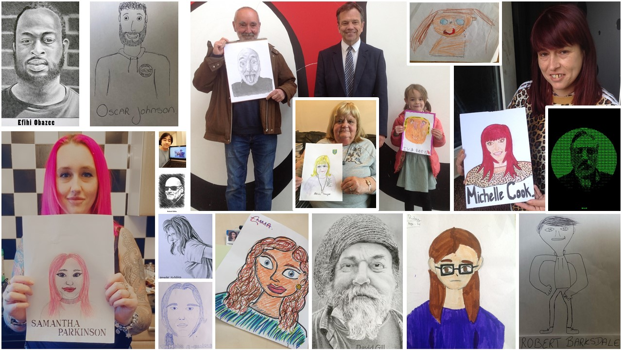 Montage of submissions from the Somerstown self portraits project